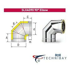 Solinox SLXAD90 90 Degree Elbow 100mm Chimney Flue Pipe Double Wall Insulated