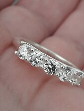 Cubic Zirconia Eternity Ring Size O Sterling Silver Band 5 Stone Band Ring