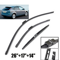 Windshield Wiper Blades Set Front Rear Window For 2004-2011 Ford Focus Mk2