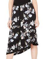 INC Women's Skirt Intense Black Size 2 Floral Print Asymmetrical $89- #086