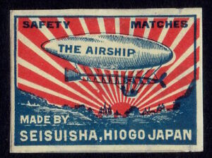 Old Matchbox Labels Japan India dirigible