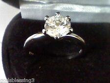 Platinum & Ss Round 1Ctw Lcs Diamond Wedding Engagement Band Ring Sz 5