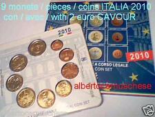 2010 9 monete EURO fdc ITALIA BU ITALIE KMS ITALIEN con 2 euro CAVOUR