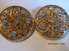 VINTAGE DOMINIQUE AURIENTIS Large GOLD TONE Clip Earrings JEWELED