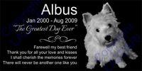 Personalized West Highland Terrier Westie Pet Memorial 12x6 Granite Grave Marker