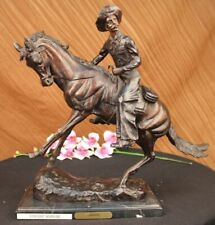 Handmade Cowboy W/ Hat Taming Horse Bronze Sculpture Marble Art Deco Figurine