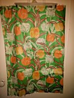Tulip Fabric Vtg 60s Cotton Green White Orange Yellow Taupe <1 yd Sewing