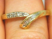 9CT gold 9k Gold  0.15ct Baguette & Round diamond Eternity ring size S