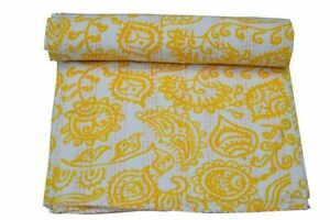 Indian Yellow Floral Handmade Vintage Kantha Bedspread Cotton Bed Cover Quilt