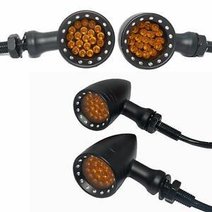 4X For Honda Shadow VT750 VT1100 Bullet Motorcycle LED Turn Signals Light Amber