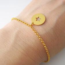 Bracelet breloque pastille étoile en argent 925 plaqué or jaune BR38-J