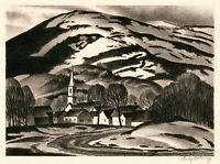 PHILIP CHENEY, 'APRIL THAW', signed lithograph, 1947, AAA