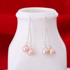 Genuine Real Silver Natural  Ear Stud Freshwater Pearl Dangle Earrings