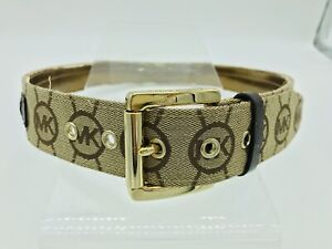 MICHAEL KORS Monogram Leather Belt Brown with Flaw Size L