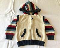 Gymboree Toddler Boys Dinosaur Zip Up Hoodie Sweater - Size 2T - Tan, Blue, Red