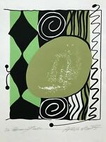 "Modern ABSTRACT Serigraph Print Atsuko Okamoto Contemporary Bauhaus 21"" x 27"""