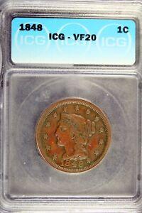 1848 - ICG VF20 Liberty Head Large Cent!!  #B18335