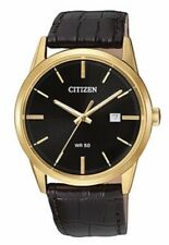 citizen watch men Quartz New Black Face Brown Leather  39mm BI5002-06E
