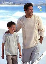 """Sirdar KNITTING PATTERN #5065 - DK Sweater & Slipover Vest for Boys & Men 28-50"""""""