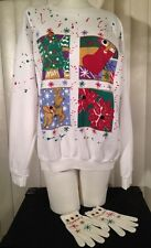 Vtg 1990s Ugly Bedazzled Christmas Sweatshirt w/ Matching Gloves Glitter Sweater