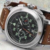 PILOT| Poljot Chronograph 3133 AVIA CLASSIC Russian mechanical Aviator's watch