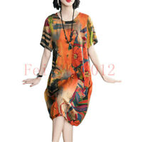 Womens Floral Printing Knee Length Round Neck A-Line Pullover Dress Summer NEW
