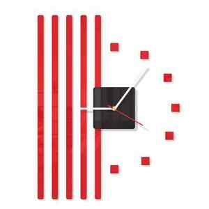 Modern Red Large DIY Wall Clock Home Decoration Living Room Bedroom Office