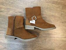 Brash Boots Girls color is cognac (tan) size 3 zipper buckle & studs