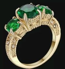 27 Ct.t.w. ROUND EMERALD 3 STONES BRILLIANT FACETED CUT RING ~ SIZE 5.5