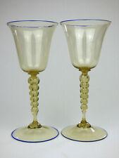 Cappellin Venini 2 smoke & blue glass wine glasses Vittorio Zecchin 1920s Murano