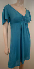 ELLA MOSS Aqua Blue Supima & Modal V Neck Short Sleeve Striped Summer Dress XS
