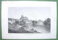 PARIS France Auxerre - 1823 Antique Print by Cpt Batty Engraving
