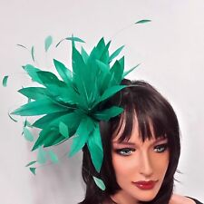 New Jade Feather Fascinator for Weddings, Races and Proms