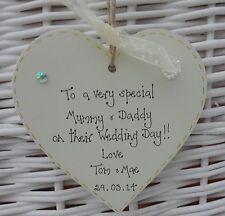 wedding heart for mummy & daddy personalised  keepsake/gift  10cm