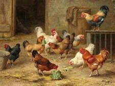 Living Room Wall Art Decor rooster and chickens Oil Painting Printed On Canvas