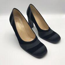 Bottega Veneta Black Satin & Velvet Heels Classic Pumps Shoes 7.5 ITALY