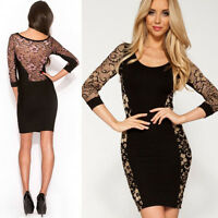 New Sexy Women's Black Lace Party Evening Cocktail Bodycon Pencil Dress Clubwear