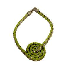 Bracciale spirale pelle verde con catena a pallina in argento titolo 925 rodiato