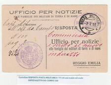 STORIA POSTALE 1918 REGNO CARTOLINA RISPOSTA POSTA MILITARE N. 8 Z/3507