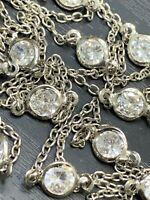 Necklace Bright Silver Super Long Cubic Zirconia Sparkle Chain necklace 36 ""