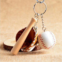 1X Mini Béisbol de tres piezas Charm Colgante Bolso Llav*ws