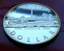 Handsome Edge Toned SILVER DOLLAR PROOF 1984 Canada TORONTO,  w Holder.