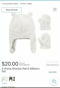 Carter's 2 Piece Sherpa Infant Hat & Mittens Set White NWT