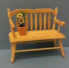 Dollhouse miniature 1:12 scale oak spindle deacons bench & potted sun flower