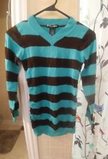 Planet Gold girls  Sweater, size 14,  turquoise, black stripe