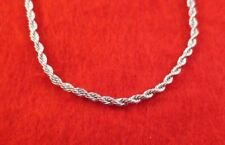 18 INCH 14KT WHITE GOLD EP 3MM ROPE CHAIN NECKLACE