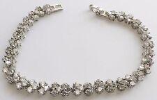 bracelet vintage couleur argent rodié rivière de solitaire cristaux diamant 447