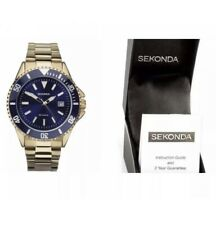 Sekonda Men's Watch Gold Plated Blue Face With Blue Dial Analogue Display 1516