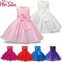 Girls Bridesmaid Dress Baby Flower Kid Party Rose Bow Wedding Princess Dress Hot