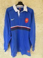 Maillot QUINZE de FRANCE 1999 rugby NIKE home bleu vintage coton shirt XXL